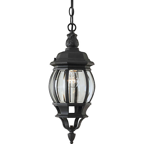 Burton 1-Light Outdoor Ceiling Light Fixture in Black