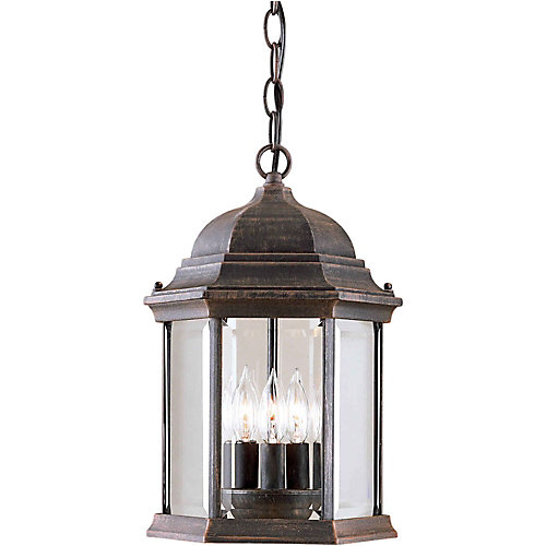 Burton 3-Light Painted Rust Outdoor Ceiling-Light