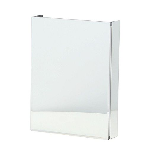 20-in. x 26-in. Recessed or Surface-Mount Bathroom Medicine Cabinet with Beveled Mirror in Silver