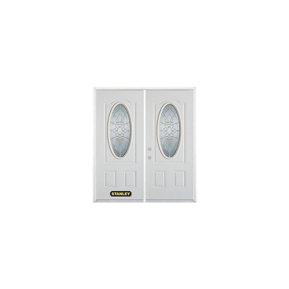 STANLEY Doors 75 inch x 82.375 inch Victoria Brass 3/4 Oval Lite 2-Panel Prefinished White Right-Hand Inswing Steel Prehung Double Door with Astragal and Brickmould