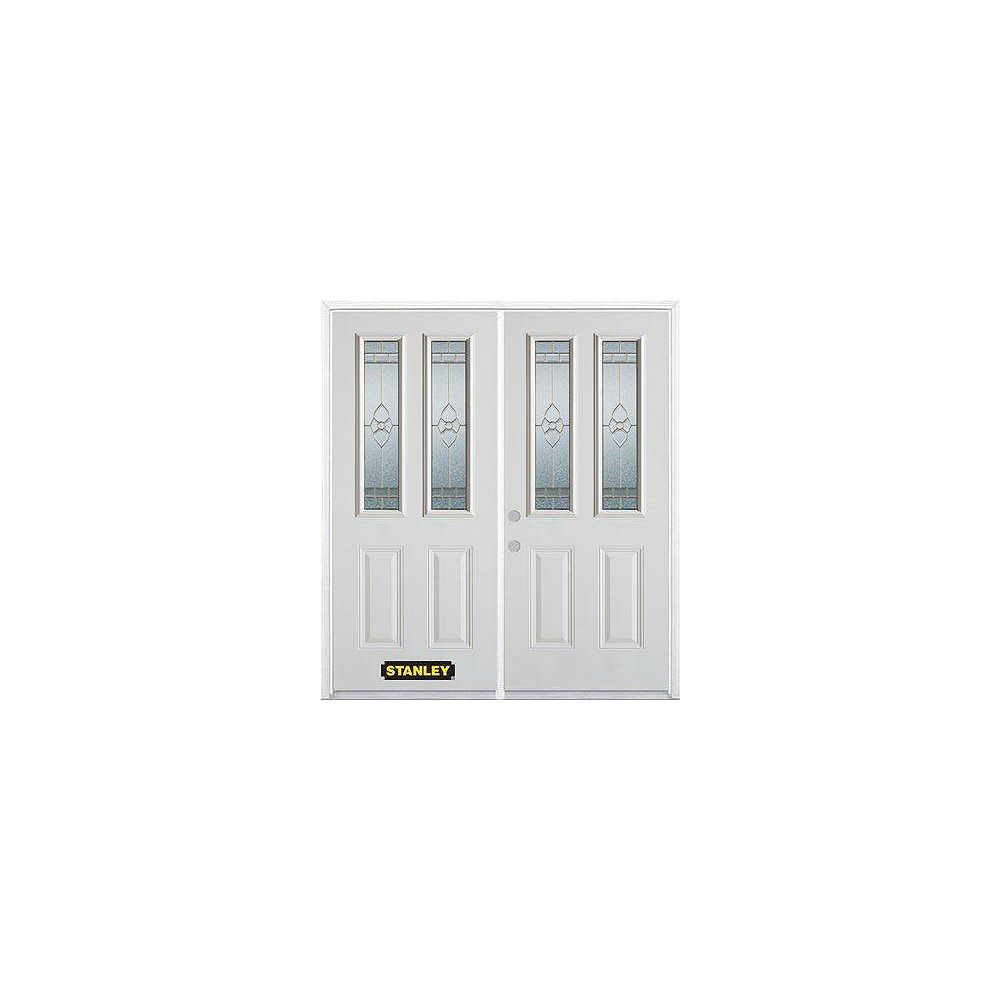 STANLEY Doors 71 inch x 82.375 inch Marguerite Brass 2-Lite 2-Panel Prefinished White Right-Hand Inswing Steel Prehung Double Door with Astragal and Brickmould