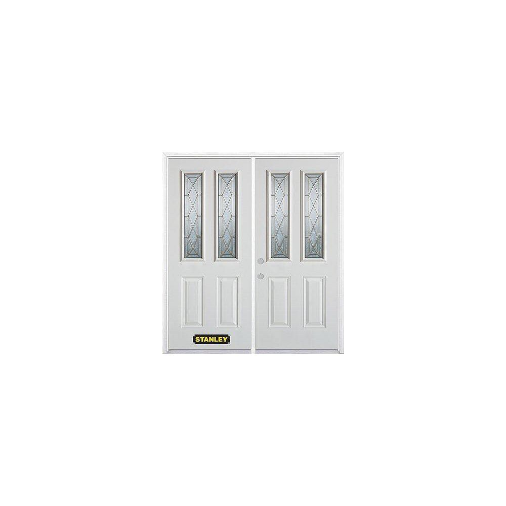 STANLEY Doors 67 inch x 82.375 inch Queen Anne Brass 2-Lite 2-Panel Prefinished White Right-Hand Inswing Steel Prehung Double Door with Astragal and Brickmould