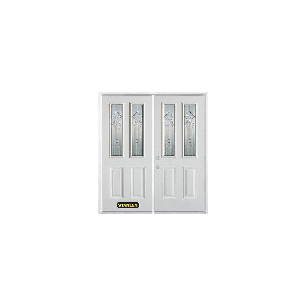 STANLEY Doors 71 inch x 82.375 inch Gladis Brass 2-Lite 2-Panel Prefinished White Right-Hand Inswing Steel Prehung Double Door with Astragal and Brickmould