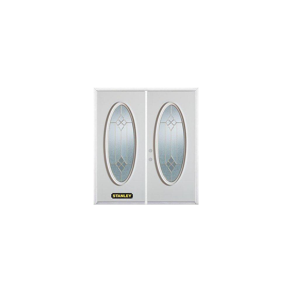 STANLEY Doors 75 inch x 82.375 inch Beatrice Brass Full Oval Lite Prefinished White Right-Hand Inswing Steel Prehung Double Door with Astragal and Brickmould
