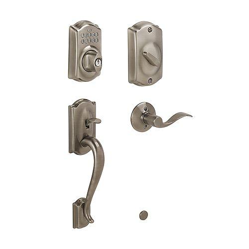 Schlage Camelot Antique Pewter Keypad Electronic Deadbolt with Camelot Handleset and Accent Door Lever