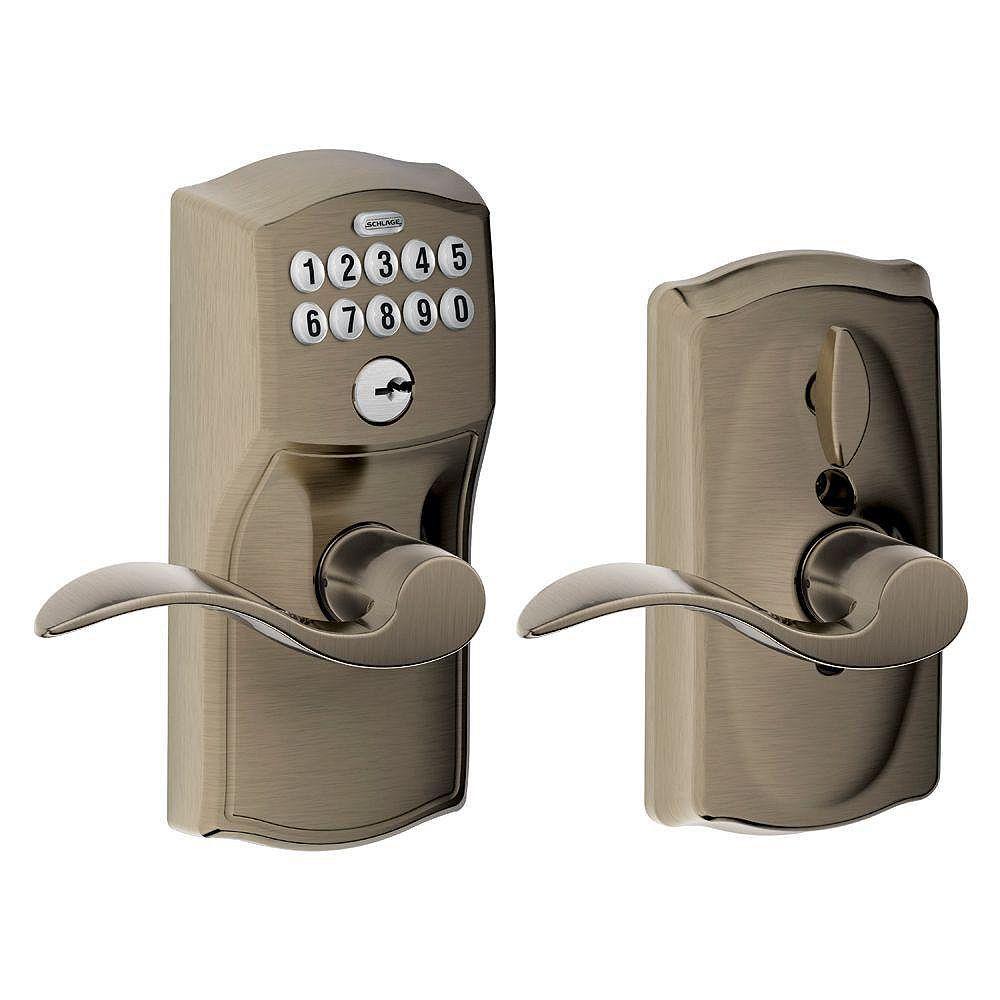 Schlage Serrure à clavier numérique poignée de porte à levier Camelot/Accent étain antique