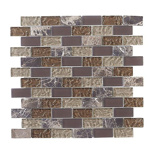 Emperador 12-inch x 12-inch Glass and Marble Mosaic Brick Wall Tile