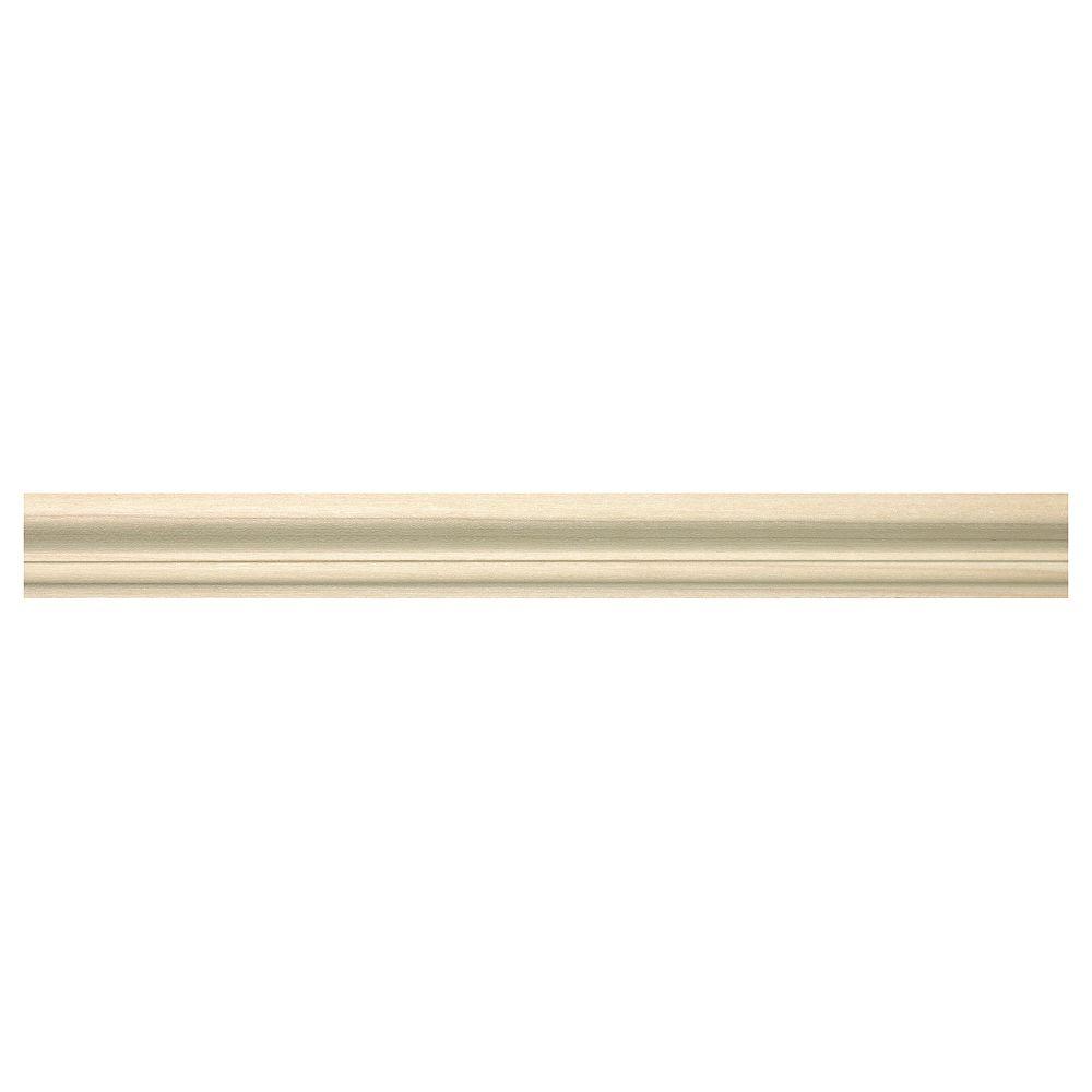Ornamental Mouldings White Hardwood Base Cap 3/4 X 1-1/4 - Sold Per 8 Foot Piece