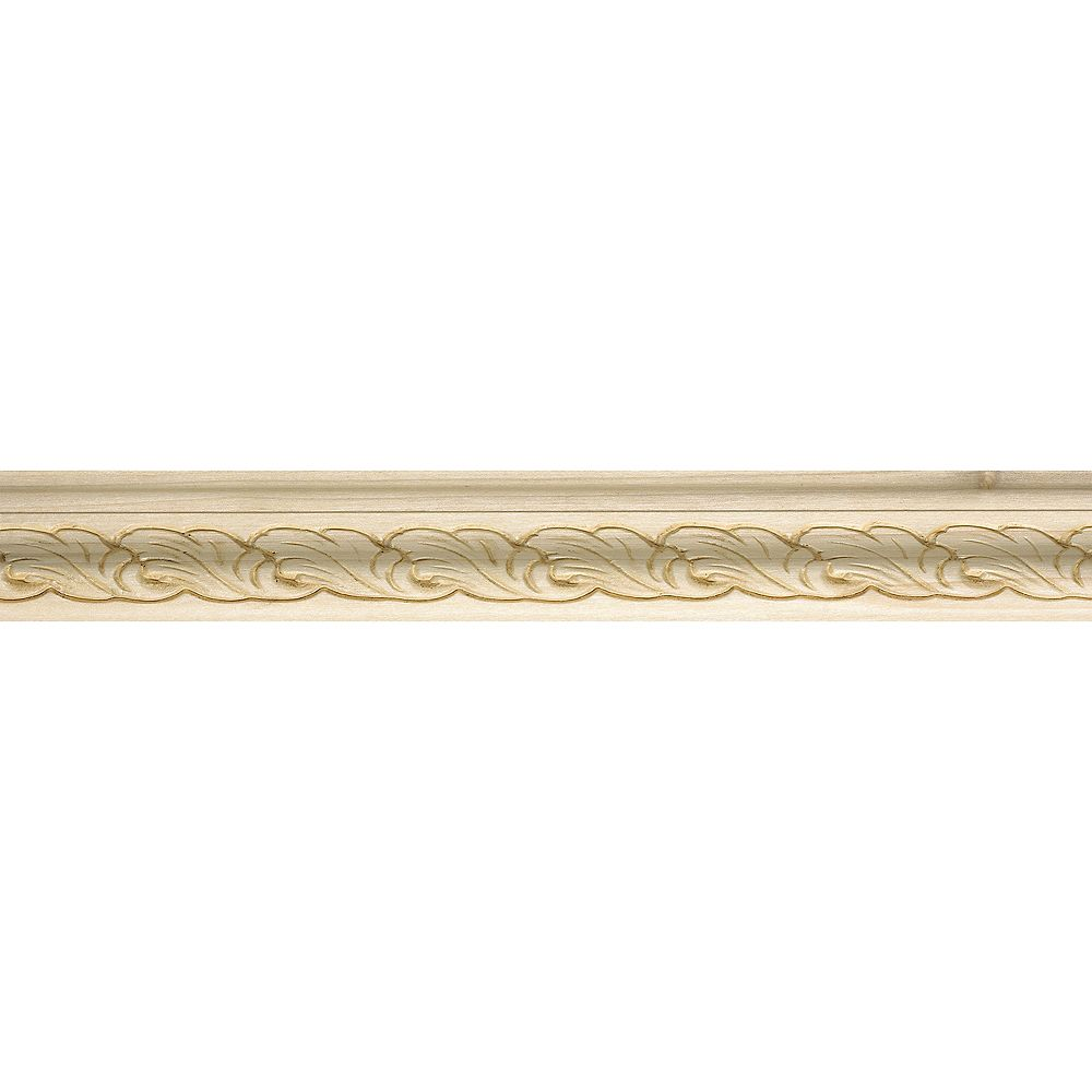 Ornamental Mouldings White Hardwood Acanthus Style Base Cap Moulding - 5/8 x 1-1/4 x 96 Inches