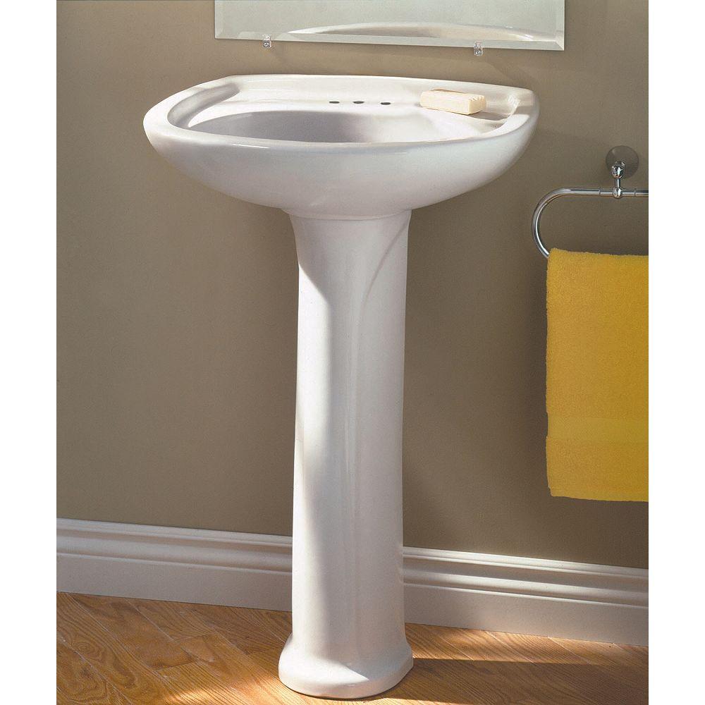 American Standard Marina Oval 4 Inch Bathroom Pedestal Sink Basin In White The Home Depot Canada