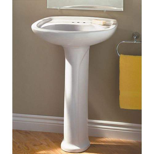 Marina Oval 4-inch Bathroom Pedestal Sink Basin in White