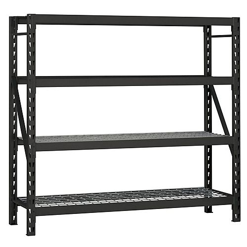 77-inch W x 78-inch H x 24-inch D 4-Shelf Welded Steel Garage Storage Shelving Unit with Wire Deck in Black