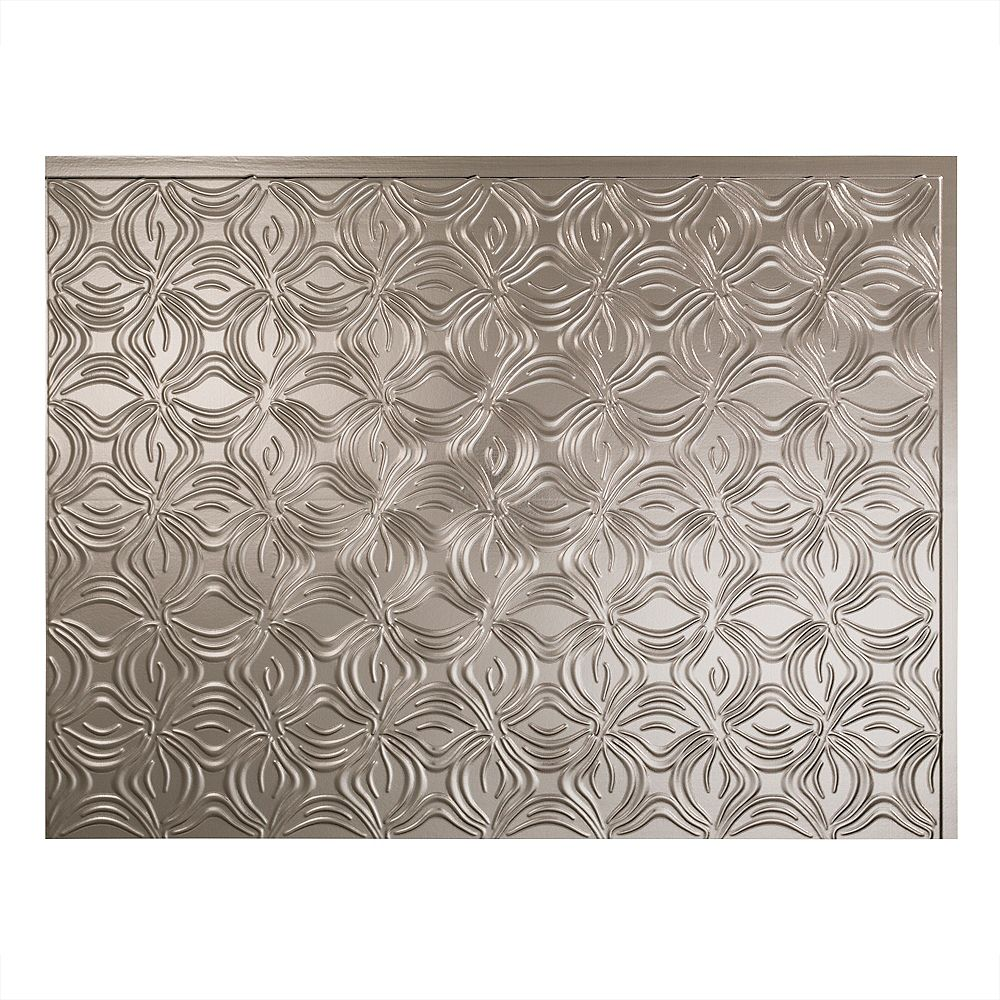 Fasade Lotus Nickel Brossé 18 po x 24 po Panneau en PVC Pour Dosseret