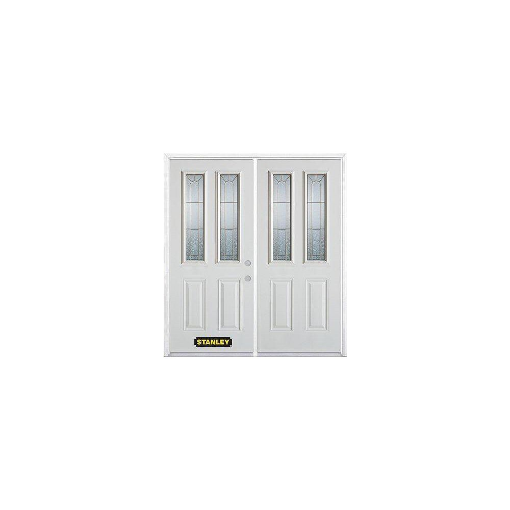 STANLEY Doors 67 inch x 82.375 inch Elisabeth Brass 2-Lite 2-Panel Prefinished White Left-Hand Inswing Steel Prehung Double Door with Astragal and Brickmould
