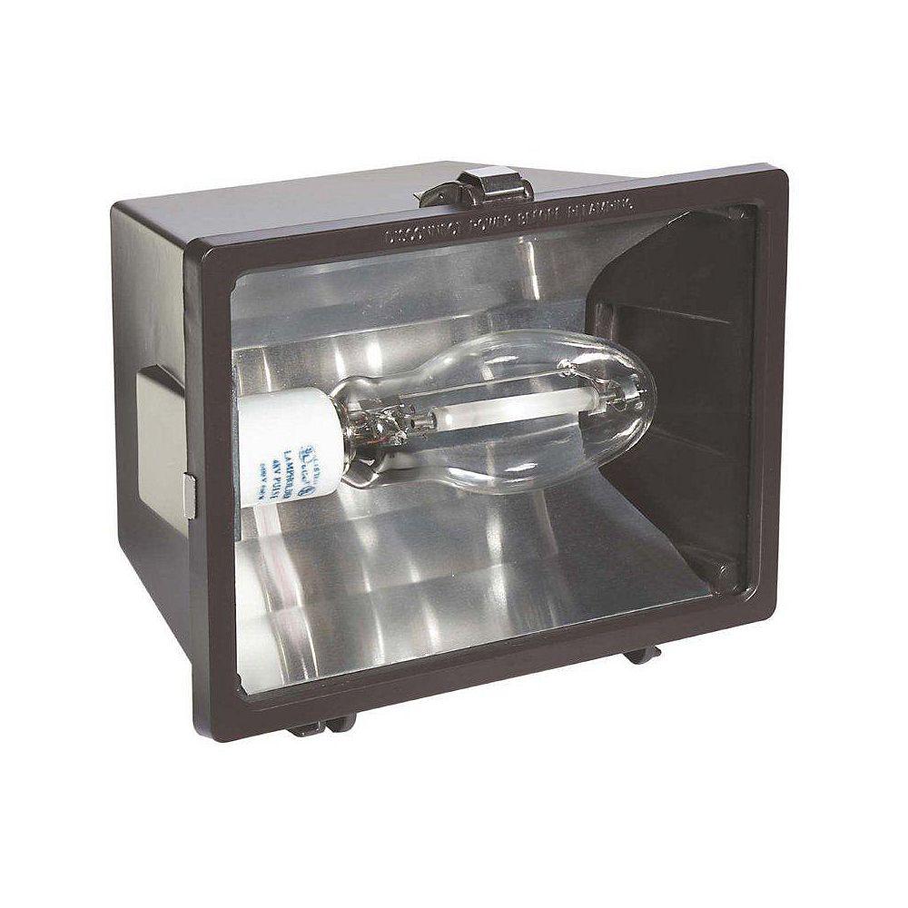 Globe Electric 150 Watt Outdoor High Power Sodium Flood Light Fixture, Light Bulb Included, Brown