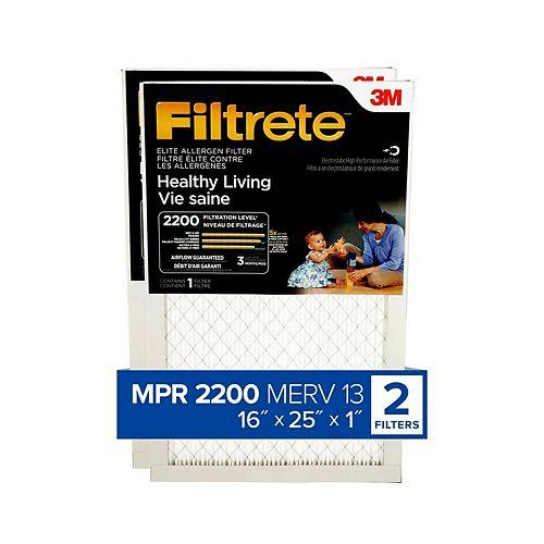 Filtre de fournaise à allergènes Élite MPR 2200 de 16 po x 25 po x 1 po pour une vie saine (paquet de 2)