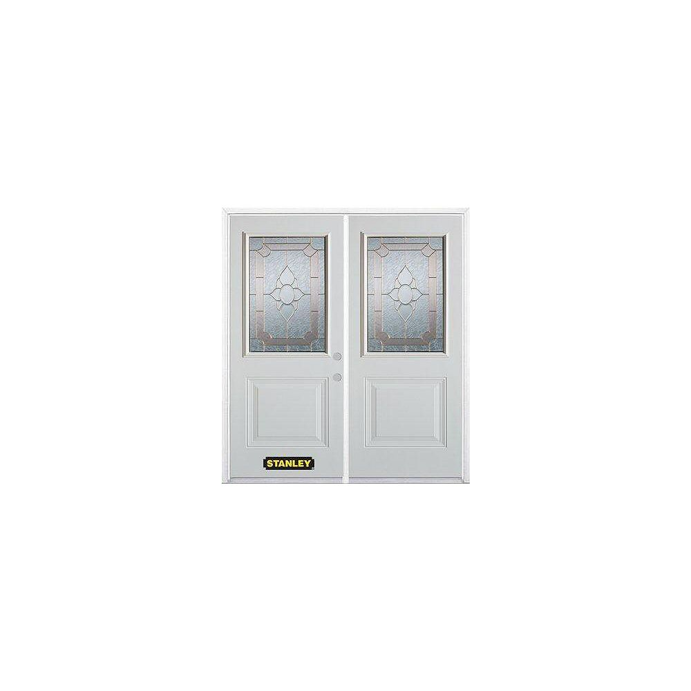 STANLEY Doors 71 inch x 82.375 inch Rochelle Brass 1/2 Lite 1-Panel Prefinished White Left-Hand Inswing Steel Prehung Double Door with Astragal and Brickmould