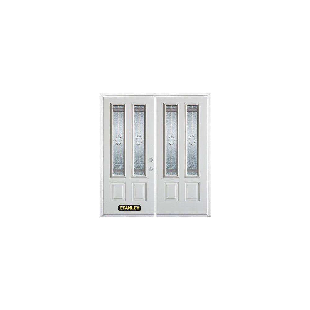 STANLEY Doors 75 inch x 82.375 inch Rochelle Brass 2-Lite 2-Panel Prefinished White Left-Hand Inswing Steel Prehung Double Door with Astragal and Brickmould