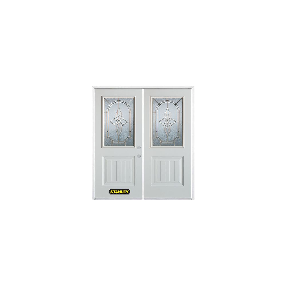 STANLEY Doors 67 inch x 82.375 inch Trellis Brass 1/2 Lite 1-Panel Prefinished White Left-Hand Inswing Steel Prehung Double Door with Astragal and Brickmould