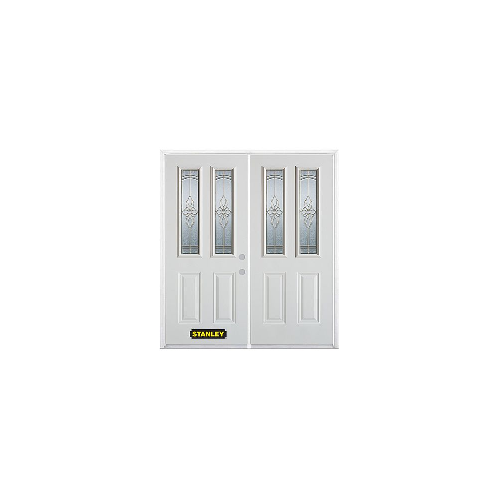 STANLEY Doors 75 inch x 82.375 inch Trellis Brass 2-Lite 2-Panel Prefinished White Left-Hand Inswing Steel Prehung Double Door with Astragal and Brickmould