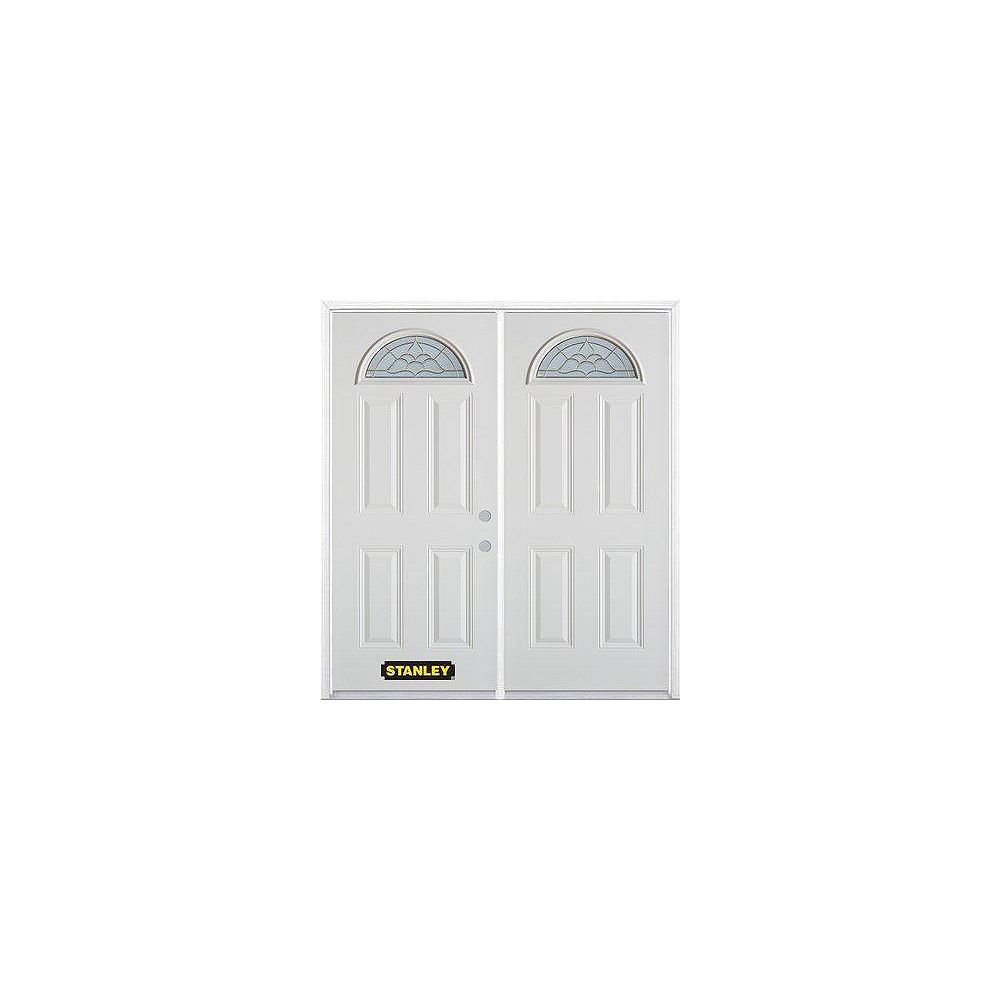 STANLEY Doors 75 inch x 82.375 inch Victoria Brass Fan Lite 4-Panel Prefinished White Left-Hand Inswing Steel Prehung Double Door with Astragal and Brickmould