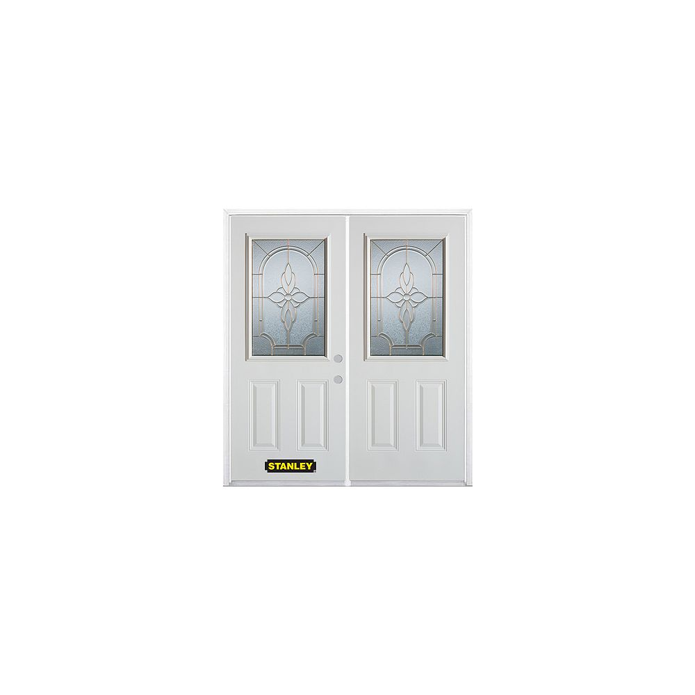 STANLEY Doors 75 inch x 82.375 inch Trellis Brass Half Lite 2-Panel Prefinished White Left-Hand Inswing Steel Prehung Double Door with Astragal and Brickmould