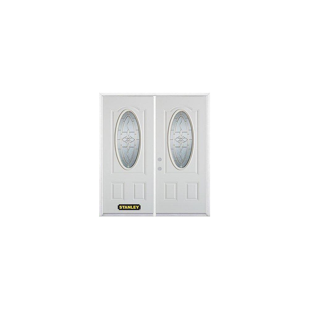 STANLEY Doors 75 inch x 82.375 inch Trellis Brass 3/4 Oval Lite 2-Panel Prefinished White Right-Hand Inswing Steel Prehung Double Door with Astragal and Brickmould