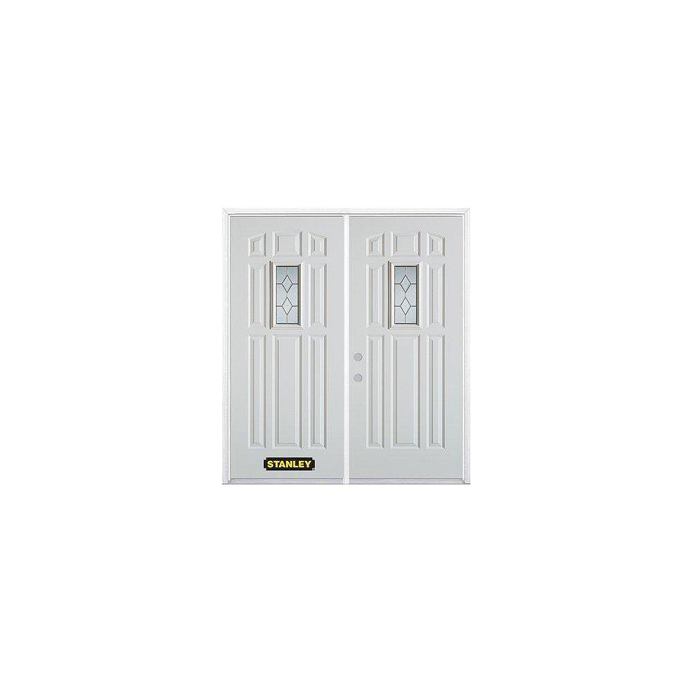 STANLEY Doors 75 inch x 82.375 inch Tulip Brass Rectangular Lite 9-Panel Prefinished White Right-Hand Inswing Steel Prehung Double Door with Astragal and Brickmould