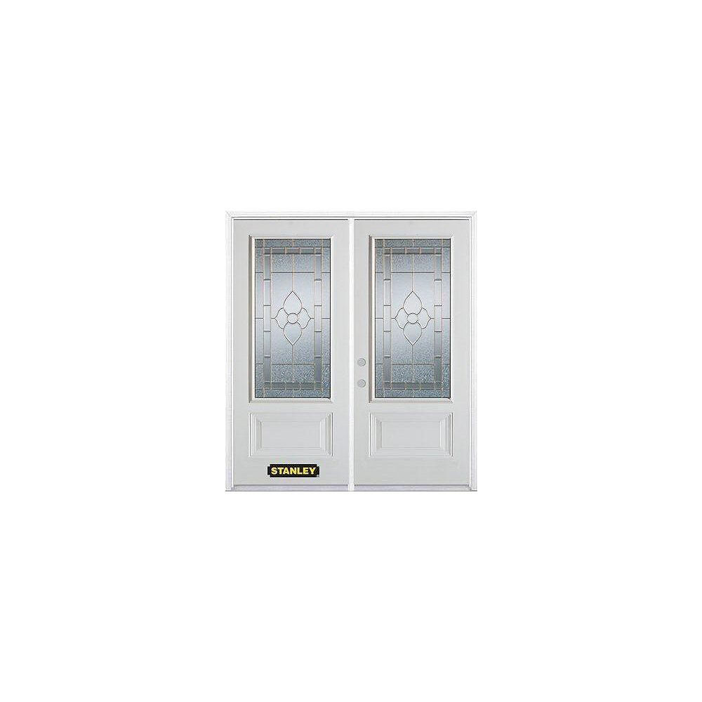 STANLEY Doors 75 inch x 82.375 inch Marguerite Brass 3/4 Lite 1-Panel Prefinished White Right-Hand Inswing Steel Prehung Double Door with Astragal and Brickmould
