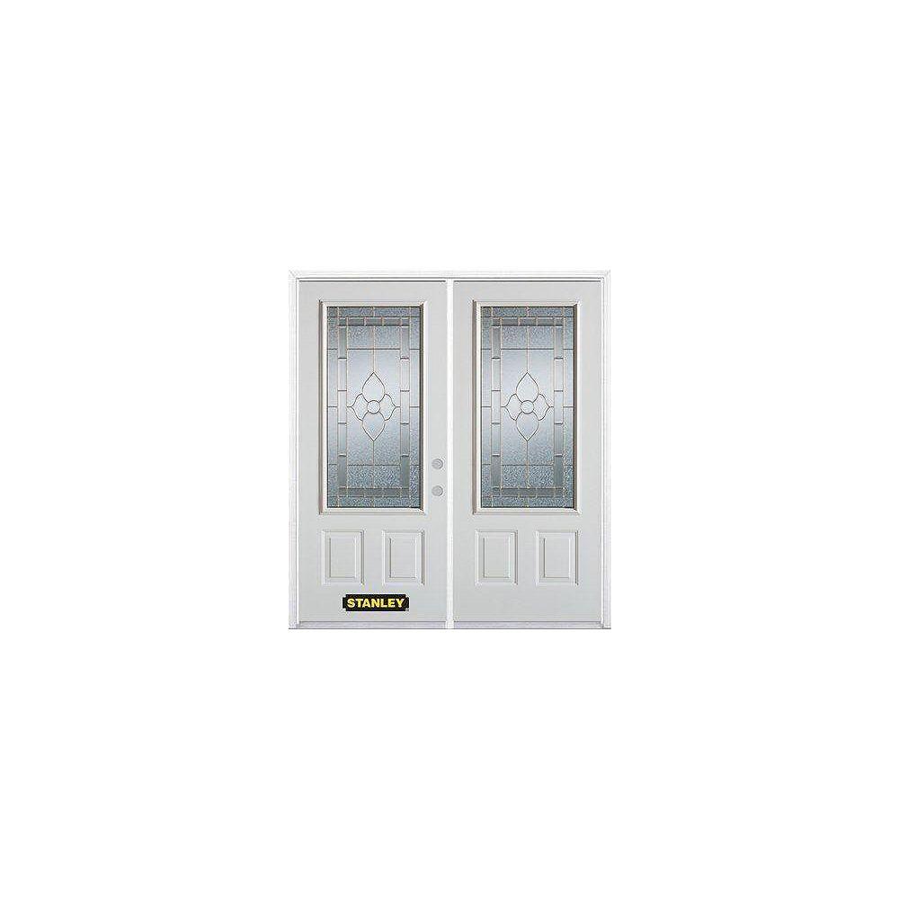 STANLEY Doors Porte dentrée double en acier préfini blanc, munie de deux panneaux et dun 3/4 verre, 66 po x 82 po avec astragale et moulure de brique