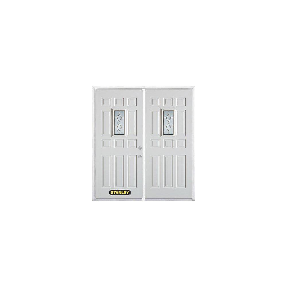 STANLEY Doors 71 inch x 82.375 inch Tulip Brass Rectangular Lite 12-Panel Prefinished White Left-Hand Inswing Steel Prehung Double Door with Astragal and Brickmould