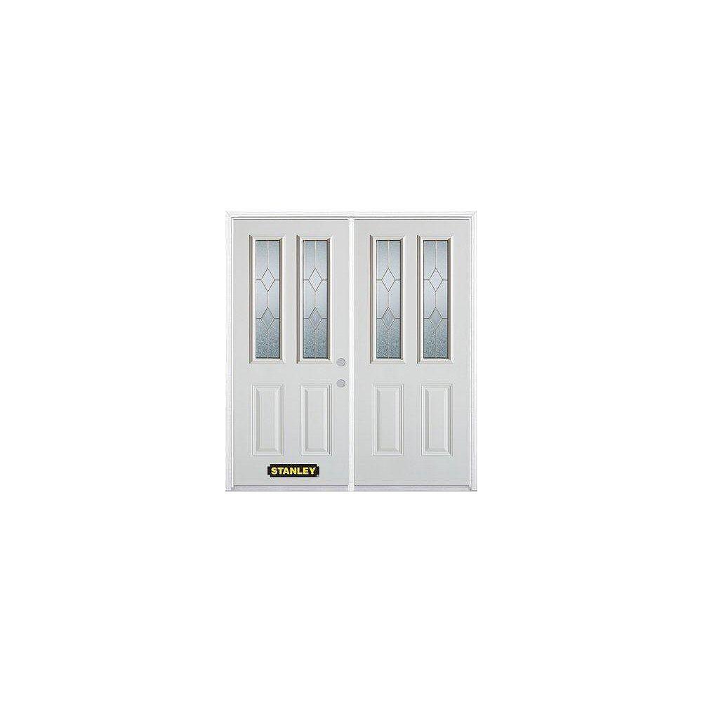 STANLEY Doors Porte dentrée double en acier préfini blanc, munie de deux panneaux et de deux verre, 66 po x 82 po avec astragale et moulure de brique