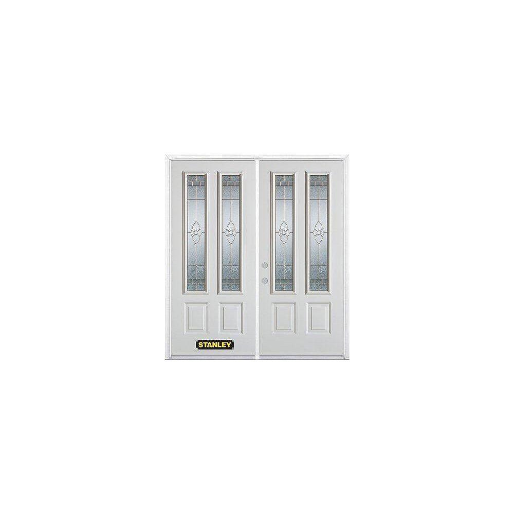 STANLEY Doors Porte dentrée double en acier préfini blanc, munie de deux panneaux et de deux verre, 74 po x 82 po avec astragale et moulure de brique