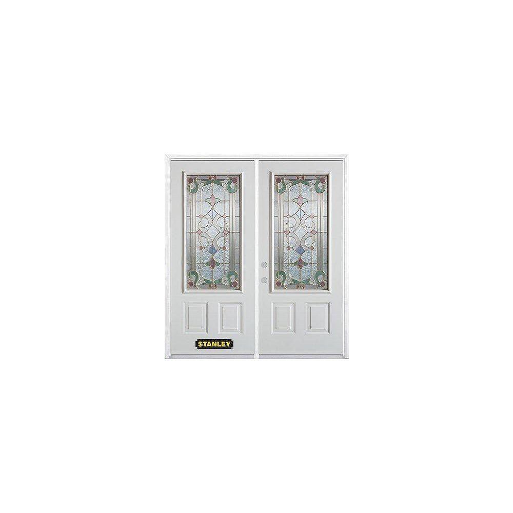 STANLEY Doors Porte dentrée double en acier préfini blanc, munie de deux panneaux et dun 3/4 verre, 74 po x 82 po avec astragale et moulure de brique