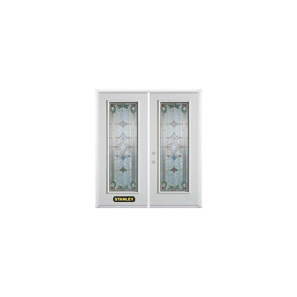 STANLEY Doors 71 inch x 82.375 inch Aristocrat Brass Full Lite Prefinished White Right-Hand Inswing Steel Prehung Double Door with Astragal and Brickmould