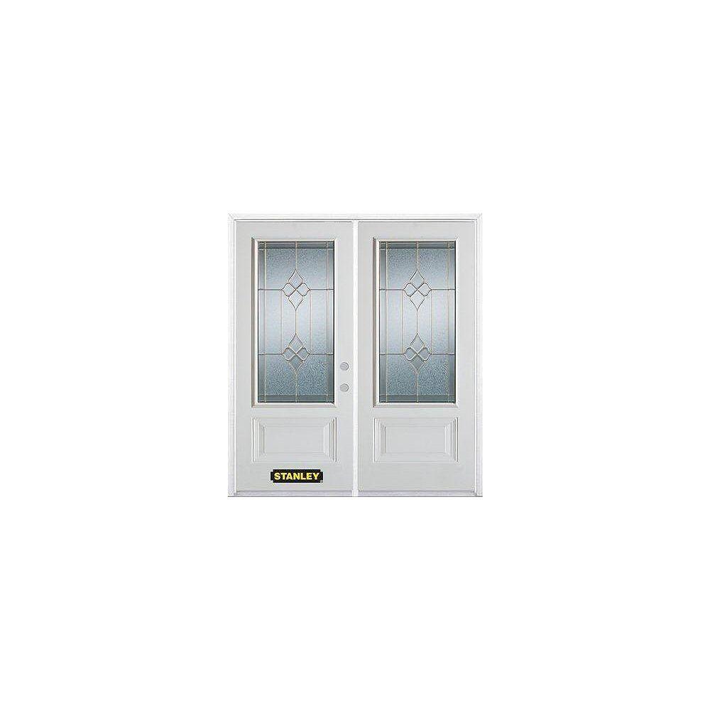 STANLEY Doors Porte dentrée double en acier préfini blanc, munie de deux panneaux et dun 3/4 verre, 70 po x 82 po avec astragale et moulure de brique