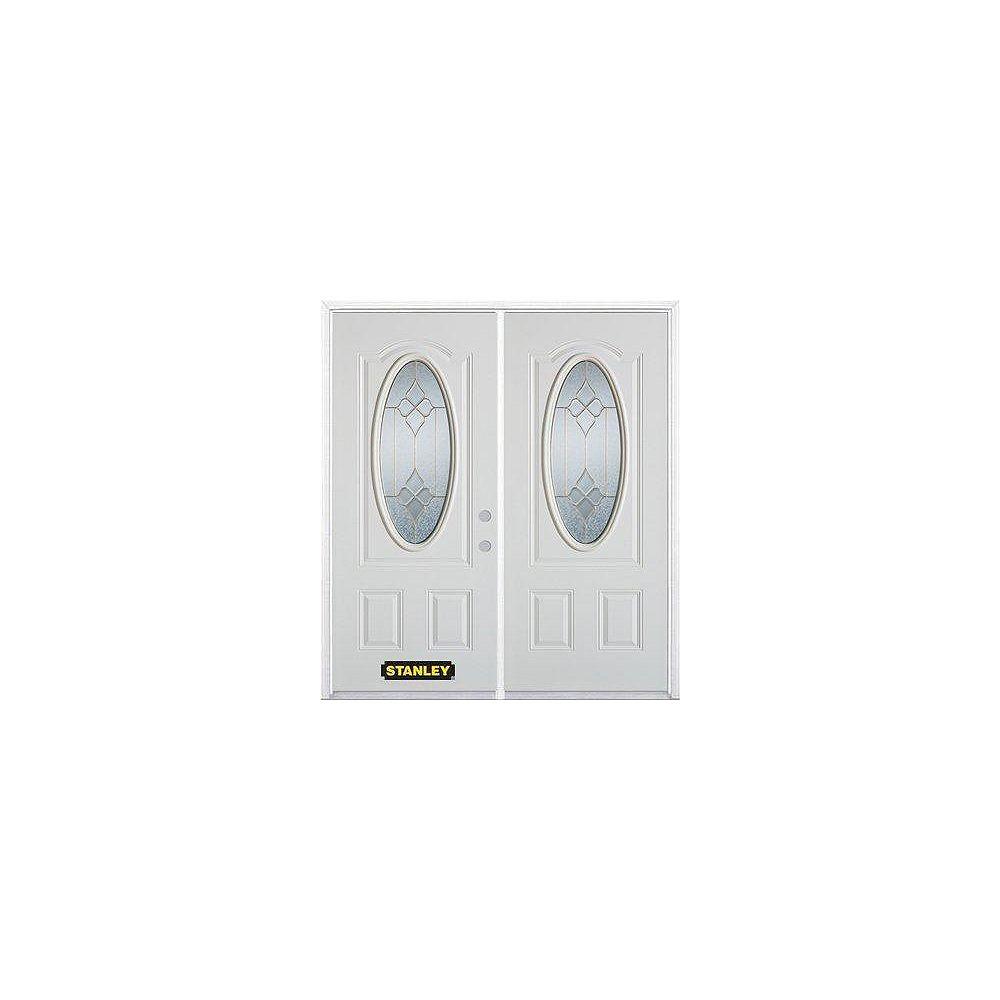 STANLEY Doors Porte dentrée double en acier préfini blanc, munie dun 3/4 verre ovale, 70 po x 82 po avec astragale et moulure de brique