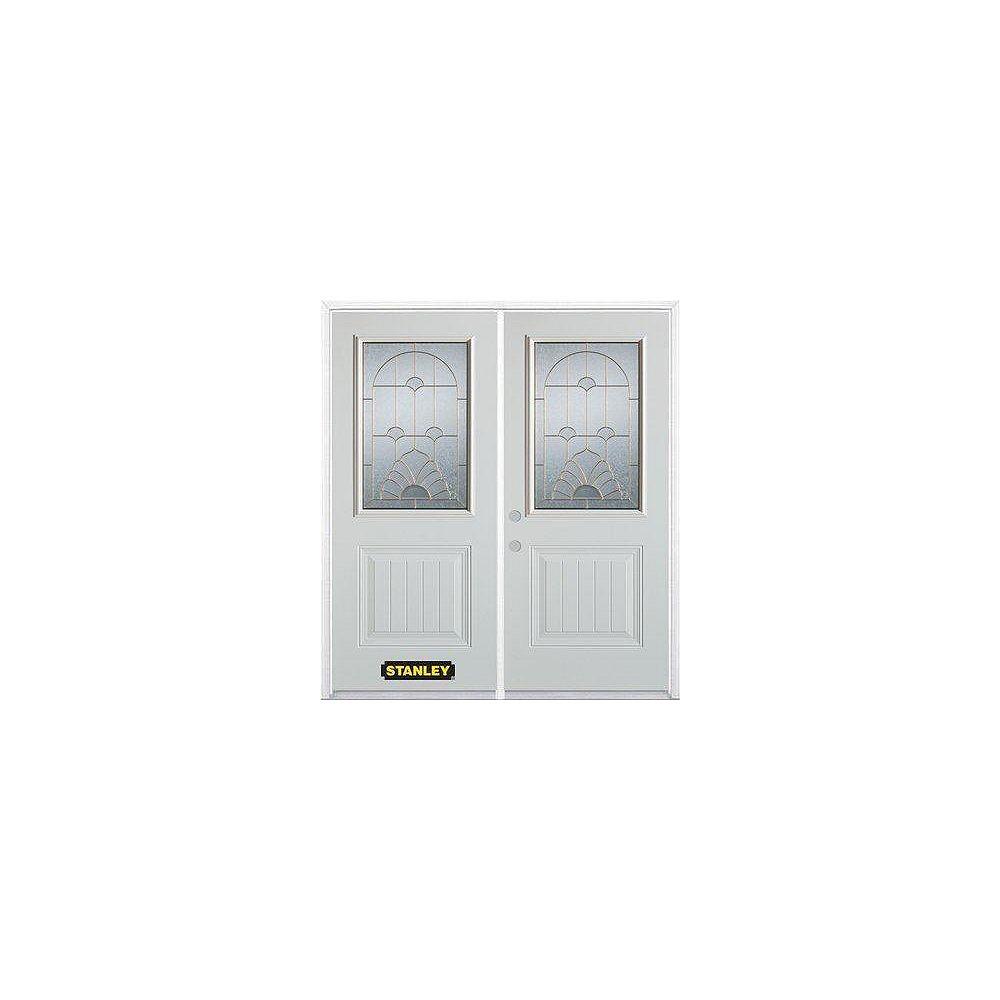 STANLEY Doors Porte dentrée double en acier préfini blanc, munie d'un panneau et dun 1/2 verre, 70 po x 82 po avec astragale et moulure de brique - ENERGY STAR®