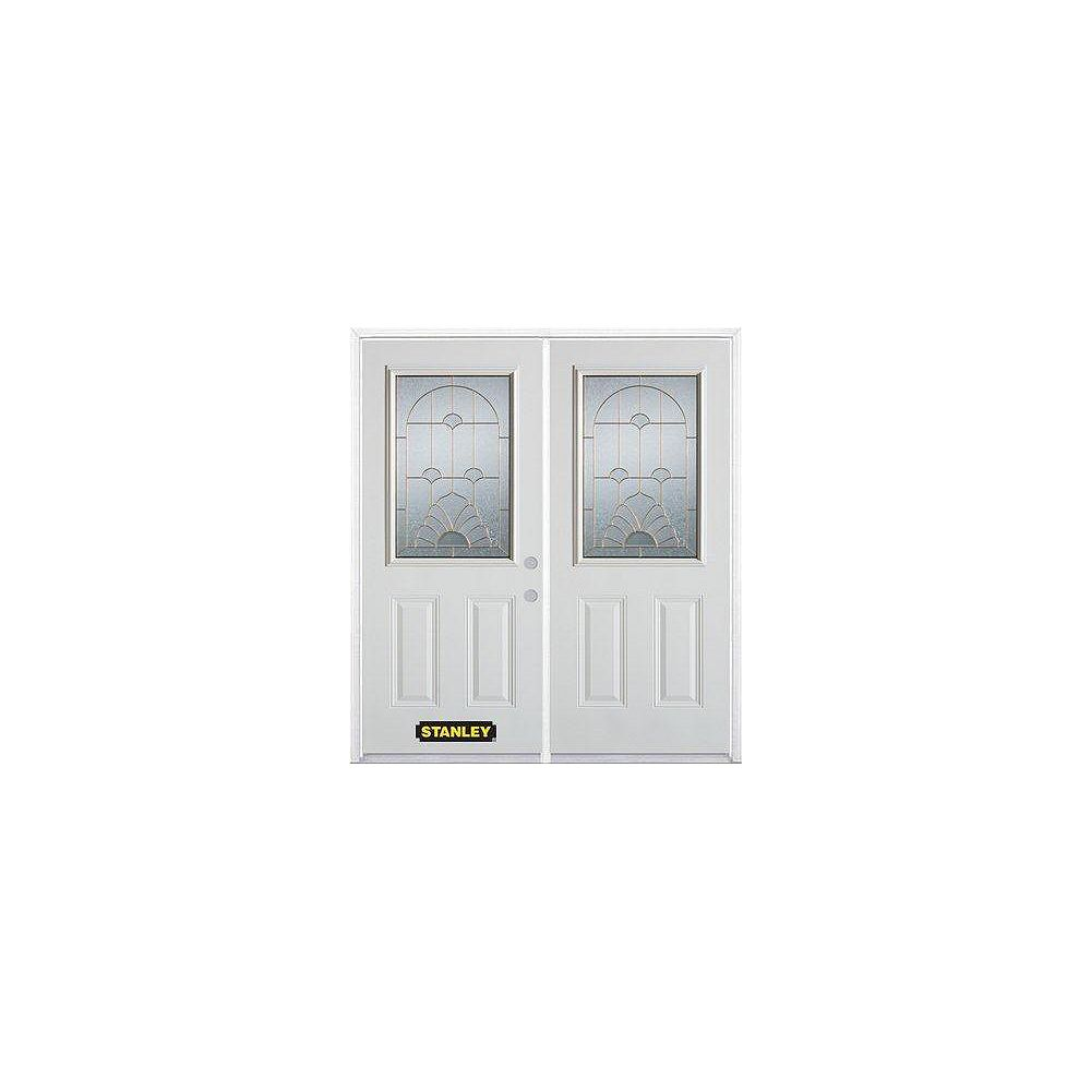 STANLEY Doors 67 inch x 82.375 inch Florentine Brass Half Lite 2-Panel Prefinished White Left-Hand Inswing Steel Prehung Double Door with Astragal and Brickmould