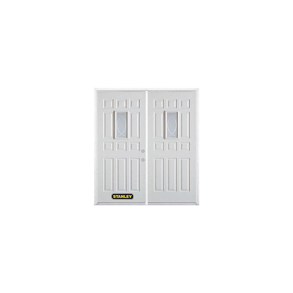STANLEY Doors Porte dentrée double en acier préfini blanc, munie d'onze panneaux et dun verre rectangulaire de 9 po x 19 po, 70 po x 82 po avec astragale et moulure de brique
