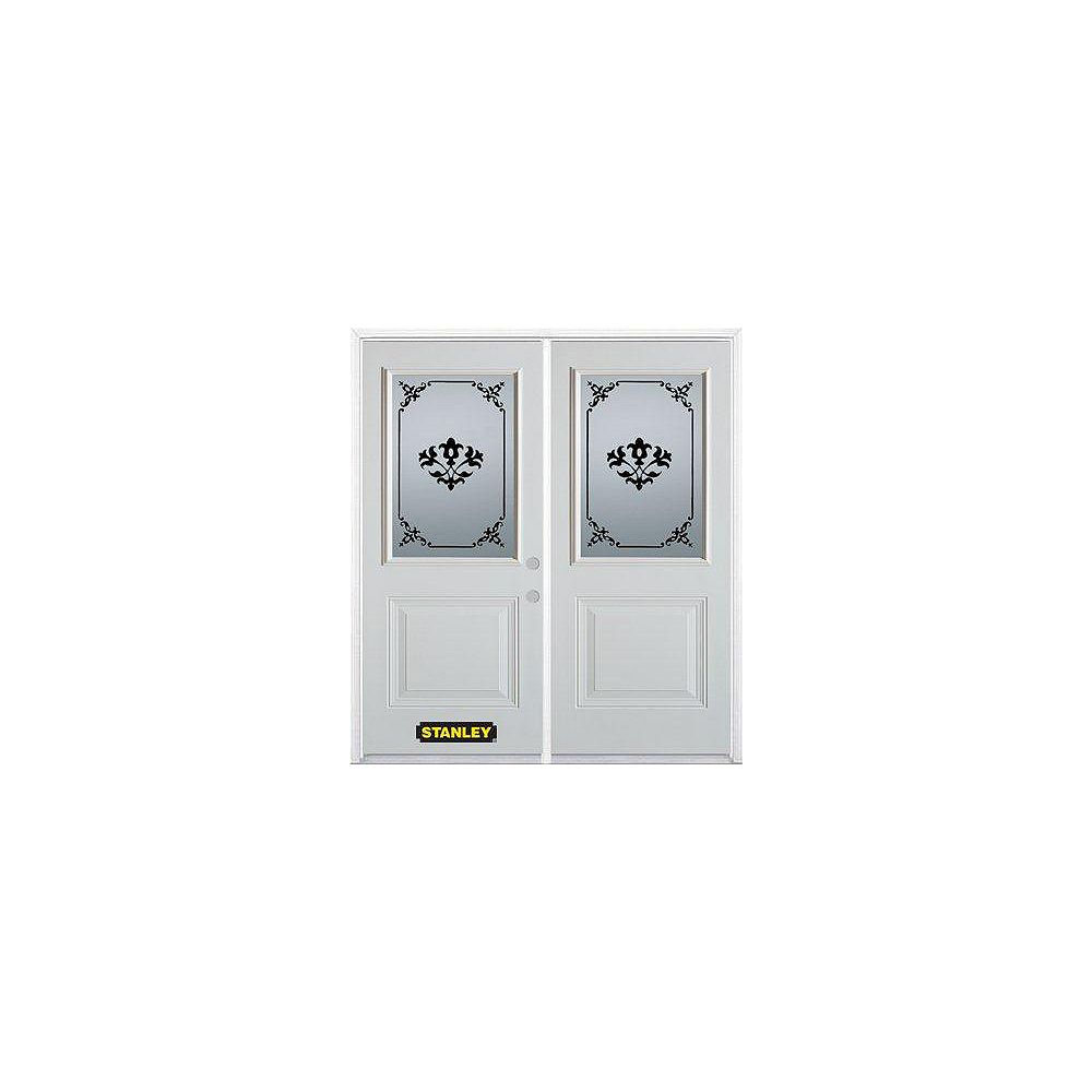 STANLEY Doors 75 inch x 82.375 inch Renoir 1/2 Lite 1-Panel Prefinished White Left-Hand Inswing Steel Prehung Double Door with Astragal and Brickmould