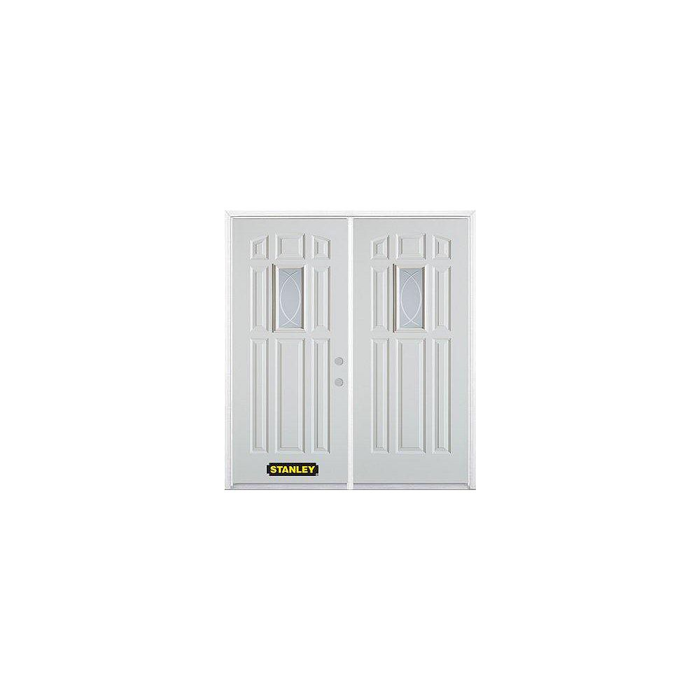 STANLEY Doors 75 inch x 82.375 inch Bourgogne Rectangular Lite 9-Panel Prefinished White Left-Hand Inswing Steel Prehung Double Door with Astragal and Brickmould