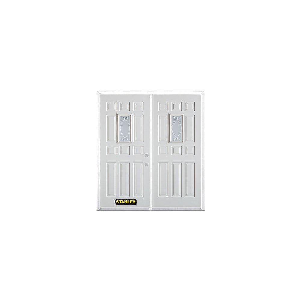 STANLEY Doors 75 inch x 82.375 inch Bourgogne Rectangular Lite 12-Panel Prefinished White Left-Hand Inswing Steel Prehung Double Door with Astragal and Brickmould