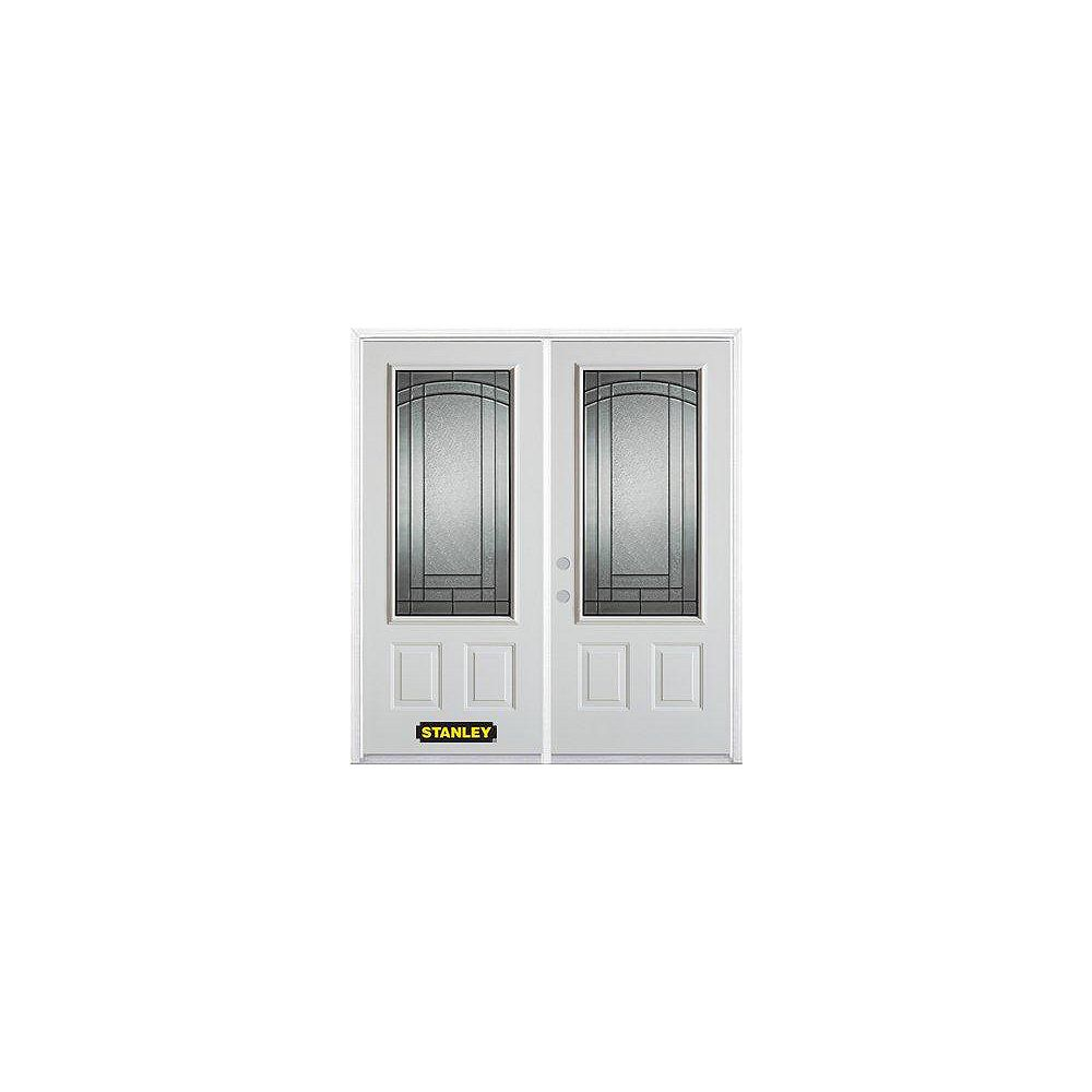 STANLEY Doors 67 inch x 82.375 inch Chatham Patina 3/4 Lite 2-Panel Prefinished White Right-Hand Inswing Steel Prehung Double Door with Astragal and Brickmould