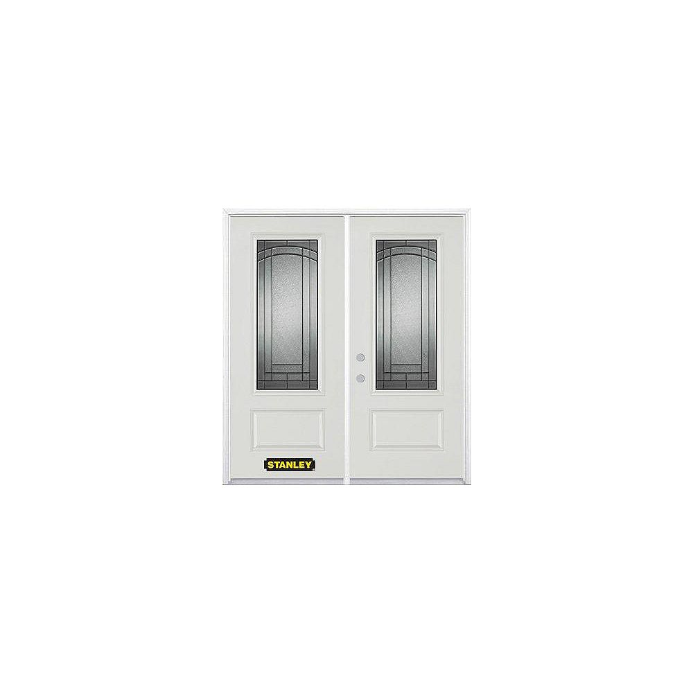 STANLEY Doors 75 inch x 82.375 inch Chatham Patina 3/4 Lite 1-Panel Prefinished White Right-Hand Inswing Steel Prehung Double Door with Astragal and Brickmould