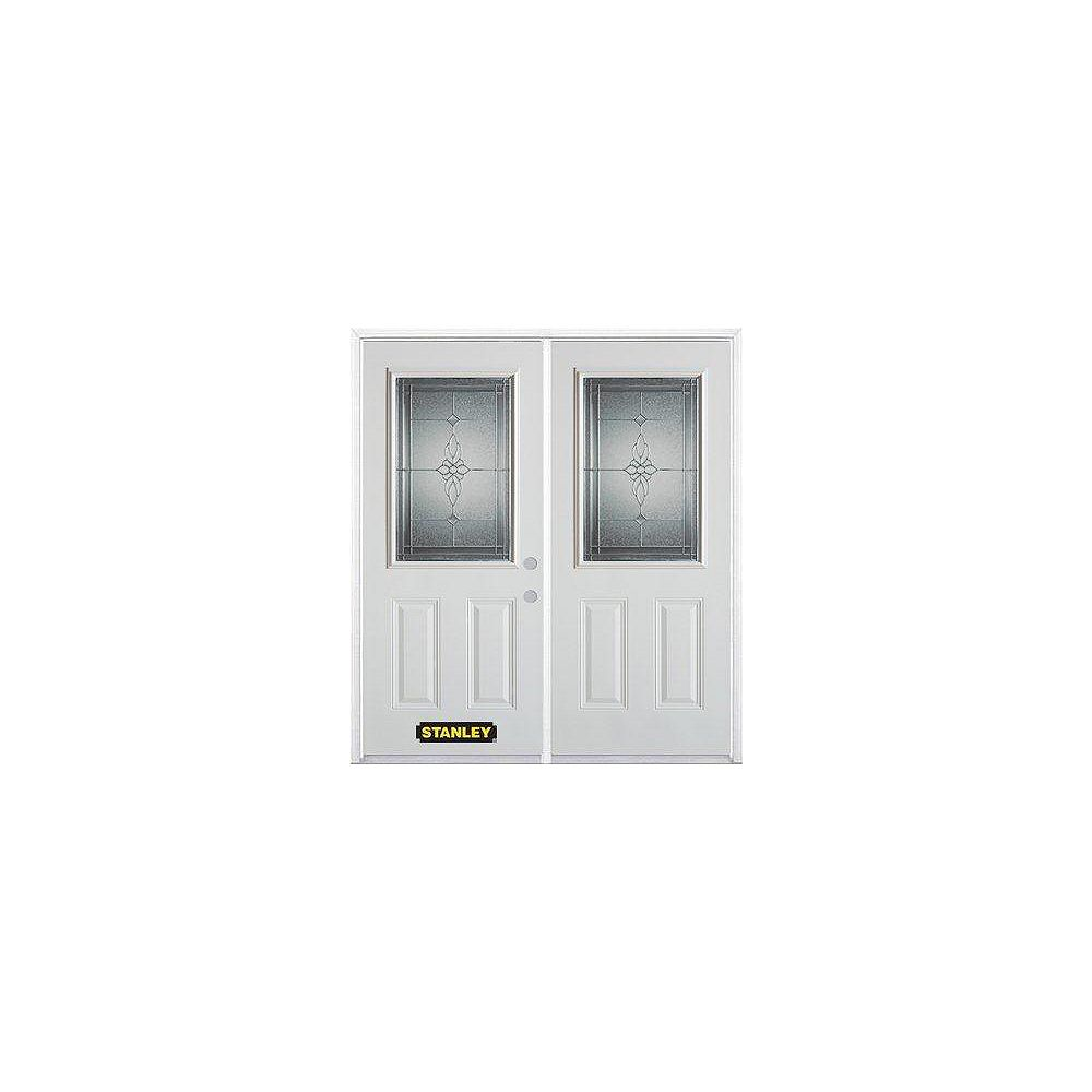 STANLEY Doors 75 inch x 82.375 inch Victoria Brass Half Lite 2-Panel Prefinished White Left-Hand Inswing Steel Prehung Double Door with Astragal and Brickmould