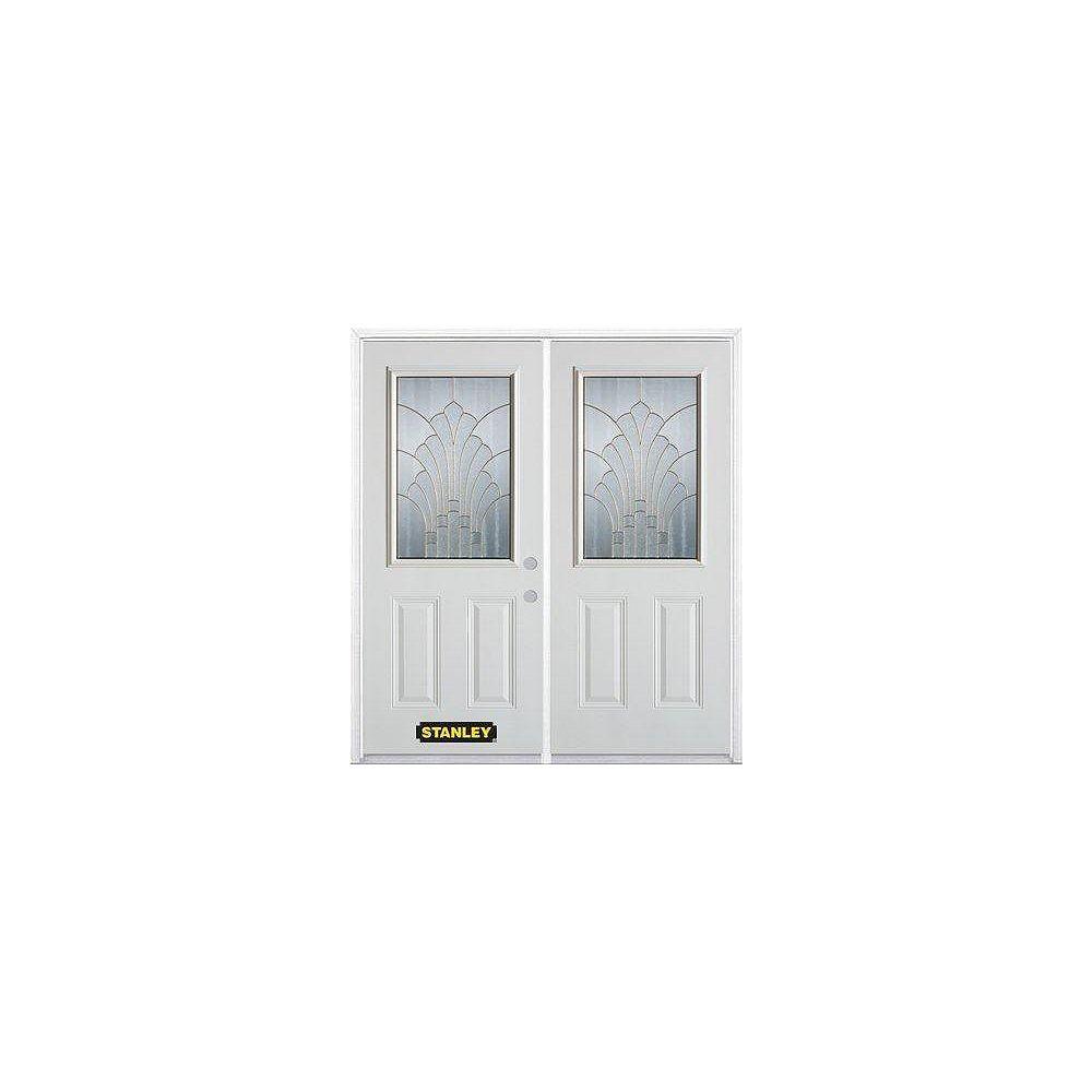 STANLEY Doors Porte dentrée double en acier préfini blanc, munie de deux panneaux et dun 1/2 verre, 70 po x 82 po avec astragale et moulure de brique