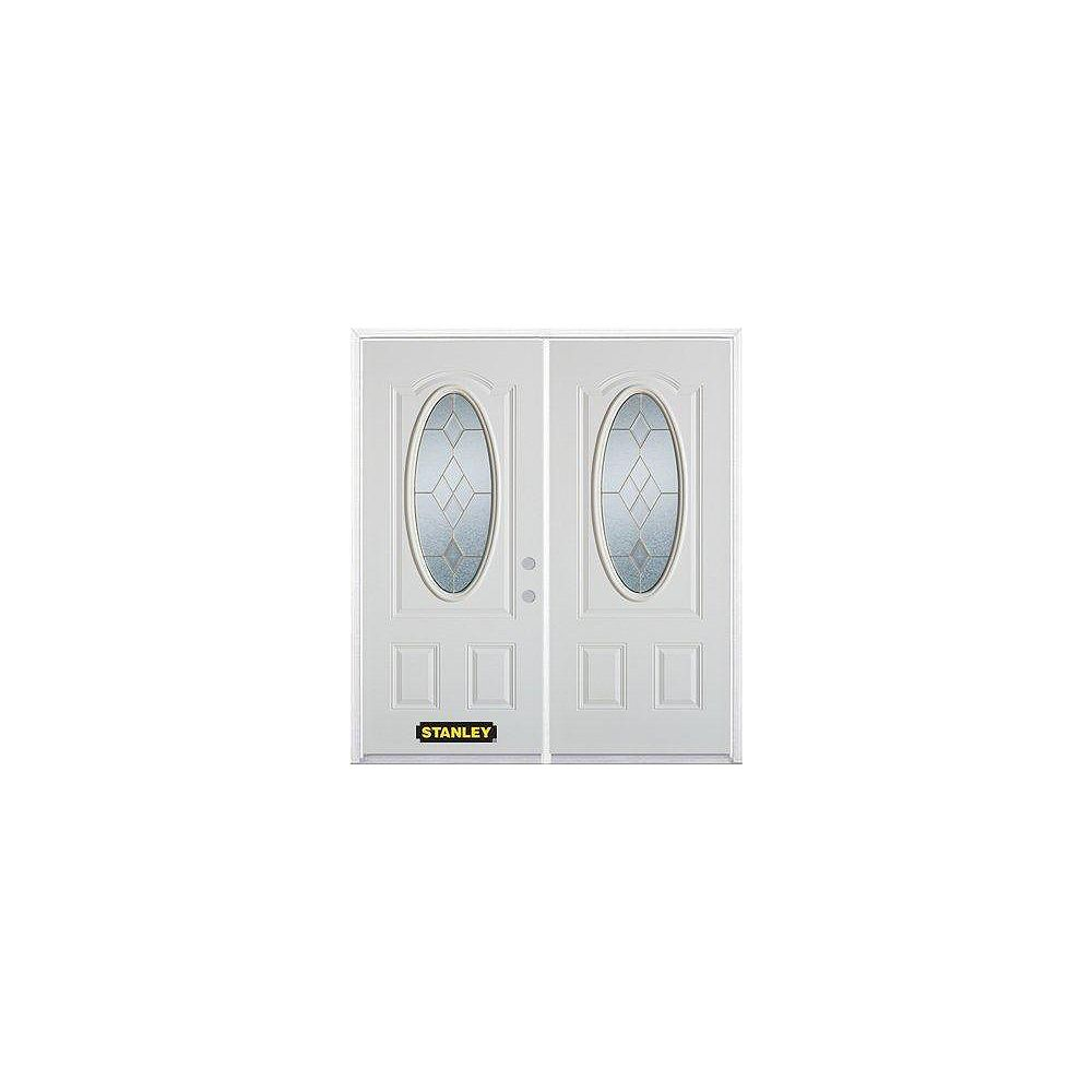 STANLEY Doors 75 inch x 82.375 inch Tulip Brass 3/4 Oval Lite 2-Panel Prefinished White Left-Hand Inswing Steel Prehung Double Door with Astragal and Brickmould