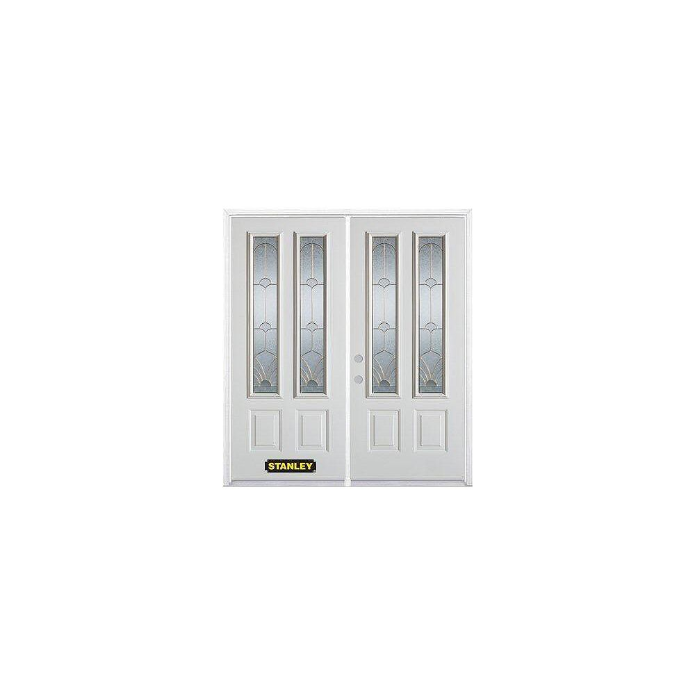 STANLEY Doors 71 inch x 82.375 inch Florentine Brass 2-Lite 2-Panel Prefinished White Right-Hand Inswing Steel Prehung Double Door with Astragal and Brickmould