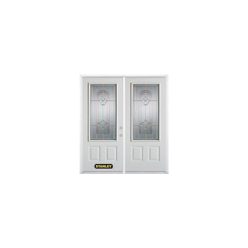 STANLEY Doors 67 inch x 82.375 inch Marilyn Brass 3/4 Lite 2-Panel Prefinished White Left-Hand Inswing Steel Prehung Double Door with Astragal and Brickmould